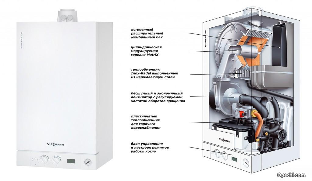Схема двухконтурного настенного газового котлаViessmann