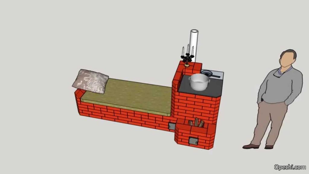 Кирпичная печь-ракета с лежанкой