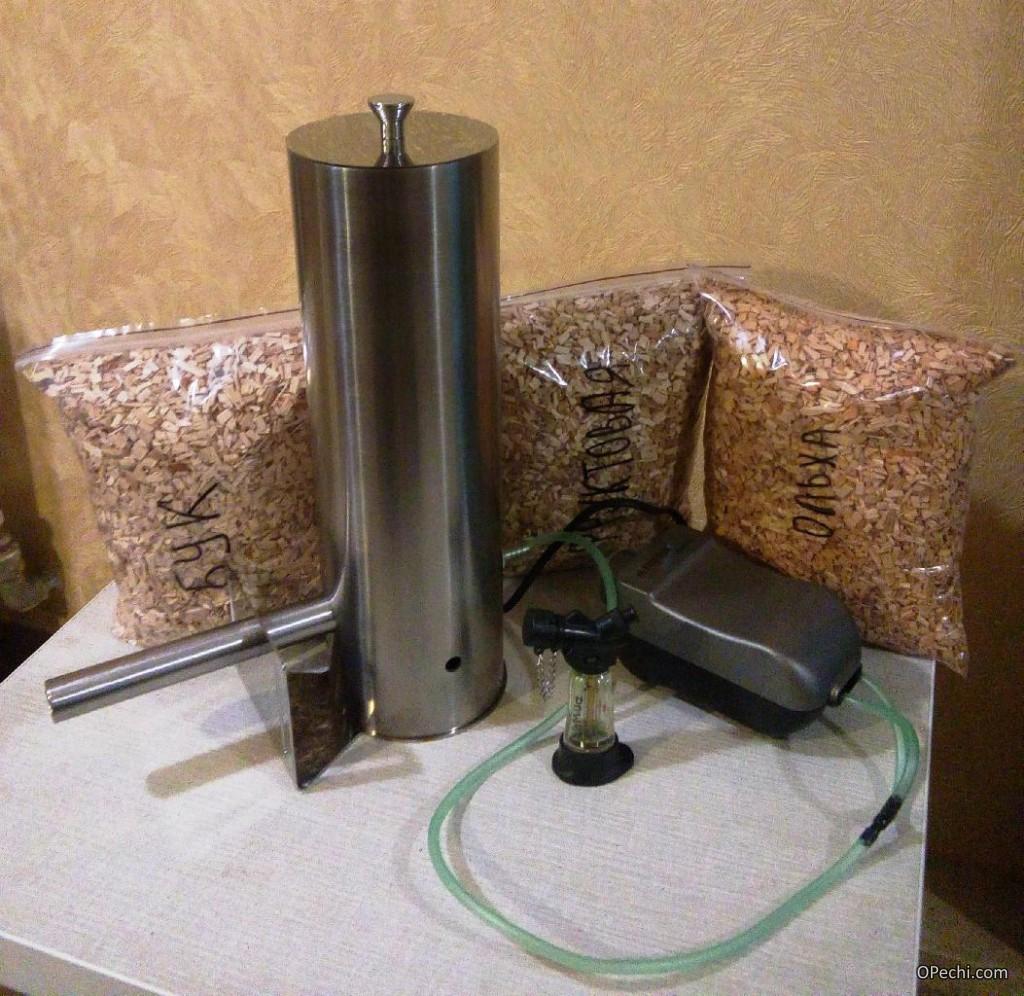 Дымогенератор с компрессором и опилками
