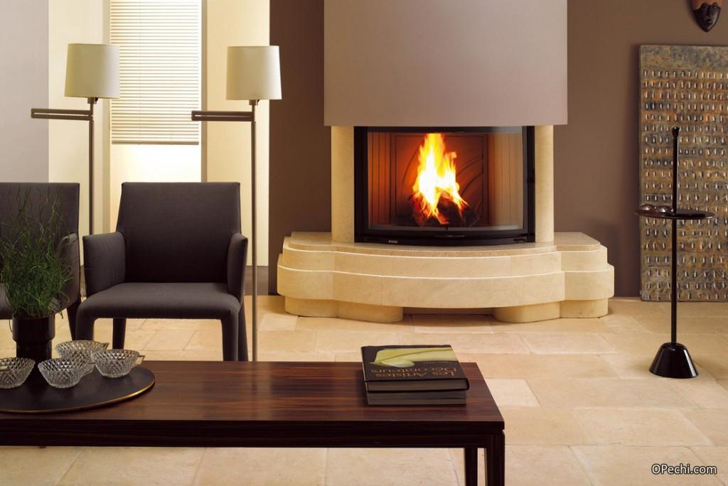 Вариант современного камина длительного горения на даче